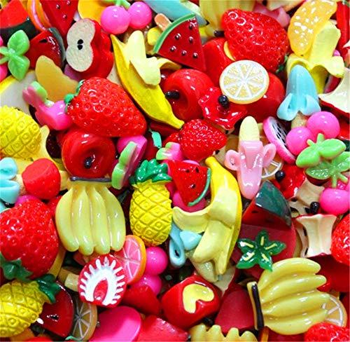 ute Candy Perlen Fruit Dessert Eis Kunstharz Charms Scheiben Flache Tasten für Handwerk Zubehör Scrapbooking Telefon Fall Decor, fruit, 10mm-25mm ()