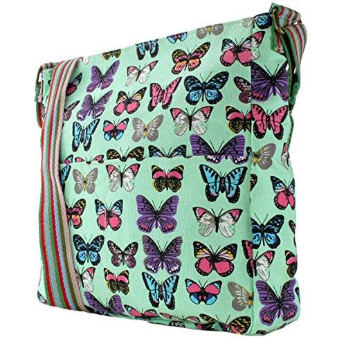 Donna, motivo floreale con farfalla, motivo a pois, in tela Butterfly Green