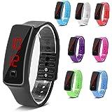 Montres Sport, LED Silicone Montre-Bracelet Temps Calendrier Bracelet Numérique Bracelet pour Femmes Hommes Sweatproof Long T