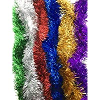 ylab multi coloured tinsel 6 strands 200cm each strand christmas tinsel