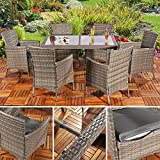 Mui 13 TLG. Poly Rattan Gartenmöbel Gartengarnitur Gartenset Sitzgruppe Grau Furniture Set
