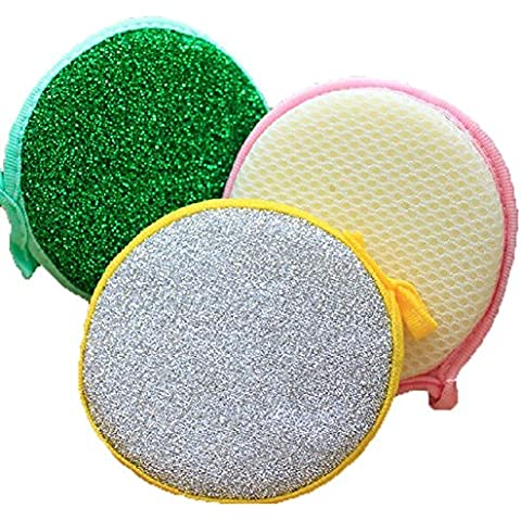 TININNA 5/10/15 pz doppio lato di rotonda di metallo Spugna Pad cleaner macchia cucina del Strofinacci Scrubber 15 pz