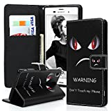 Maviss Diary Sony Xperia Z3 PU Tasche (mit Band)Case Flip Cover Fall Magnet Telefon-Kasten Hülle Standfunction Wallet Brieftasche Card Slot Flipcase Schief Rote Auge--dont touch my phone