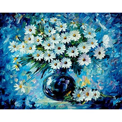 JAGENIE Unframed Daisy Blume DIY Malen Nach Zahlen Ölgemälde Auf Leinwand Hauptwanddekor 40x50 CM