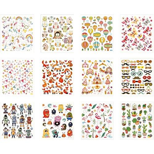 Sticker-Aufbewahrungsbuch mit Stickern, Bogen 15x16,5 cm, Ganzjahres-12 Blatt