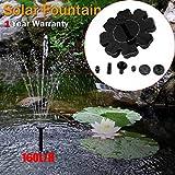 Xshuai Bain d'oiseau Solaire Pompe de Fontaine Décorative D'eau avec buse DE 2connecteur de Bassin Étang pour Jardin Aquarium Rocaille Fontaine Size of Solar Panel Power: 160 X 160mm Noir