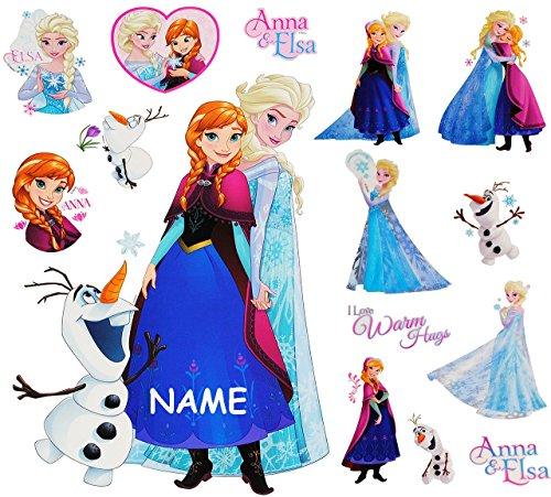 Unbekannt 15 TLG. Set _ Wandtattoo / Sticker + Fensterbilder -  Disney die Eiskönigin - Frozen  - incl. Name - Wandsticker + Fenstersticker - Aufkleber für Kinderzimm..
