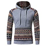 IMJONO Herrenkleidung Men Retro Long Sleeve Hoodie Hooded Sweatshirt Tops Jacket Coat Outwear(X-Large,Grau)
