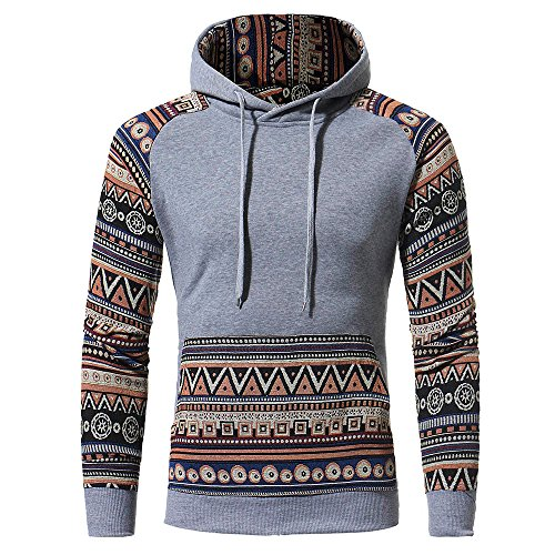 IMJONO Jacket,iHENGH Neujahrs Karnevalsaktion Herrenkleidung Men Retro Long Sleeve Hoodie Hooded Sweatshirt Tops Jacket Coat Outwear(XX-Large,Grau)