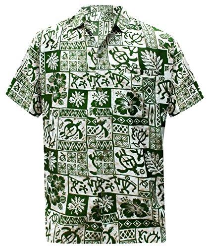 La Leela Strand Hawaiihemd Herren XS - 5XL Kurzarm Front-Tasche Hawaii-Print Casual Button Down Hemd Grün S A121 (Herren Schlaf-hose Grüne)