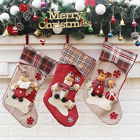yamuda 3PCS SET für große Classic Christmas Stockings Weihnachtsstrumpf Xmas Geschenk, Textil, Set F, big