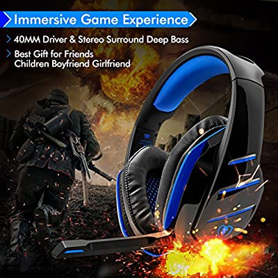 Beexcellent Micro Casque Gaming PS4, Casque PC Ultra-Léger Stéréo Lumière Stéréo Bass Anti-Bruit LED lumière avec 3.5mm Connecteur Compatible Xbox One Laptop Tablette et Tous Les Smartphone (Bleu) de beexcellent