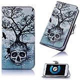 Book Style Skull Design Handy Tasche Flip Cover Schutz Hülle Schale Klapp Etui Case Modern Bag für Samsung Galaxy Note 3 Neo N7505