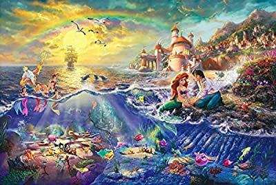 Van Eyck Mermaid by Thomas Kinkade Disney Dreams Painting Prints on Canvas Wall Art Picture for Living Room Home Decorations - cheap UK light shop.