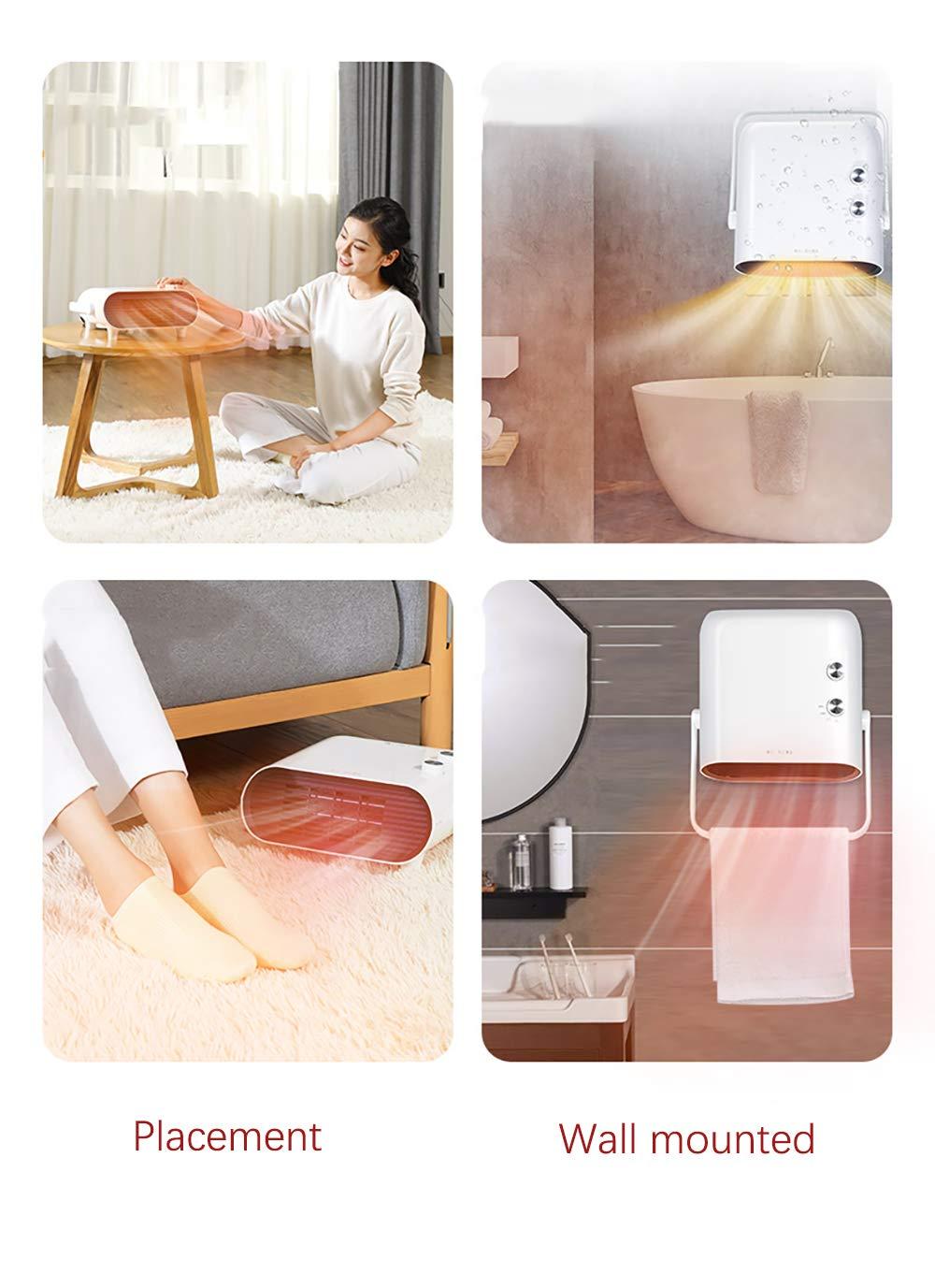 Calentador Espacial, Mini Ventilador Calefactor Personal, Viento Cálido / Natural Para Baño, Oficina Y Hogar, 3 Modos… 5