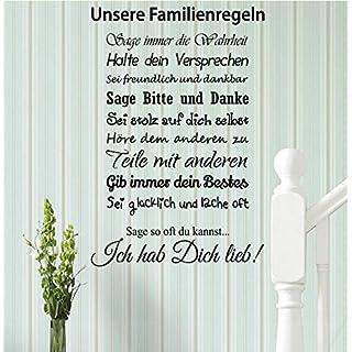 Wandtattoo-Wandaufkleber ***Familienregeln*** - (Größen.- und Farbauswahl)