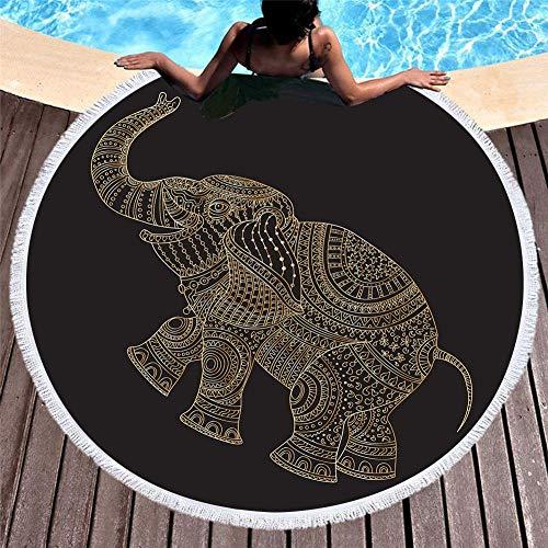 Vanzelu Tropisches Strandtuch Mit Sonnenschutz, Mikrofaser Mit Quastenmuster, Elefant