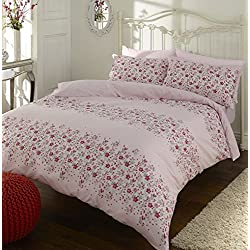 Sleepscene - Juego de funda nórdica reversible Megan, de polialgodón con estampado de rayas florales de color rosa, 50 % poliéster, 50 % algodón, Rosa, Doublé