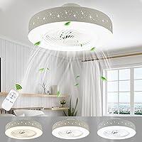 LUTDK 45W LED Fan Plafonnier Moderne Nordique Dimmable Ventilateur Au Plafond avec Lampe Ultra-Mince Invisible Lustre De…