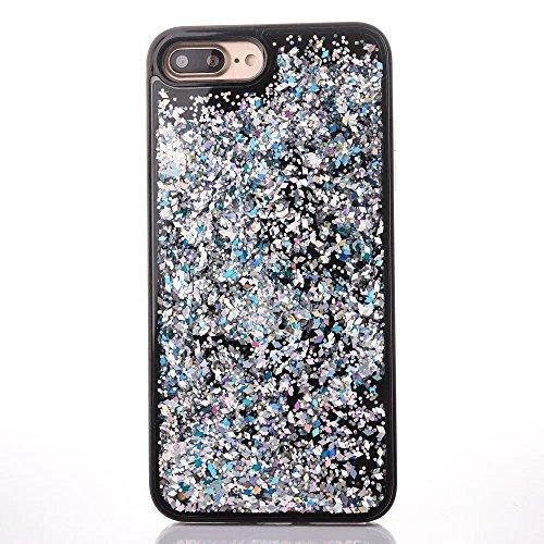 Coque iPhone 7 Plus Liquide, LuckyW Housse Etui PC Matériel Hardcase pour Apple iPhone 7 Plus/7S Plus(5.5 pouces) 3D Bling Glitter Briller Sparkle Éclat Flowing Floating Liquid Liquide Quicksand Sable Plaque de diamant