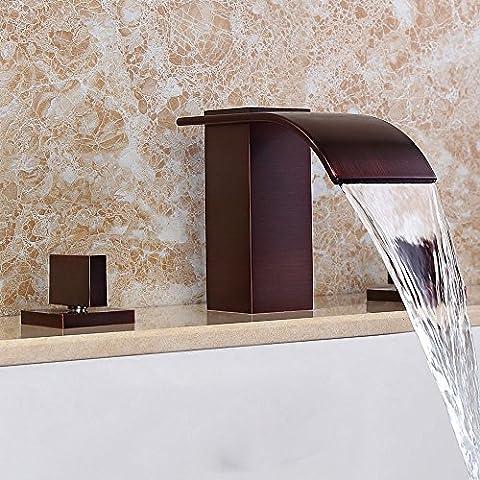 Bad Wäscheservice Waschbecken Wasserhahn 2 Griffen Weit verbreitetes Mischpult in Öl eingerieben Bronze Tippen