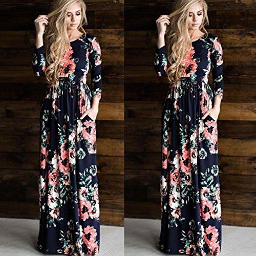 Bluestercool Femmes Robe imprimé floral à manches longues Boho Evening Dress Bleu