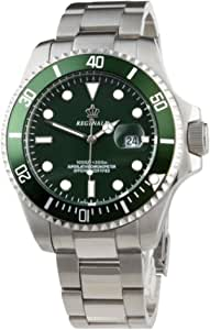 Reginald, orologio sportivo con quadrante verde, classico, luminoso, al quarzo, militare, in acciaio inox, da uomo