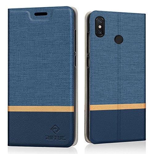 RIFFUE Funda Xiaomi Mi MAX 3, Carcasa Delgada Libro de Cuero con Tapa Cartera de Ranura y Billetera Elegante Case Cover para Xiaomi Mi MAX 3 - Azul