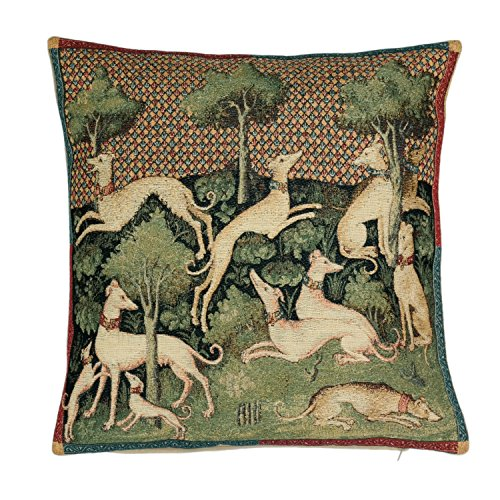 BelgianTapestries Edle Kissenhülle, Zierkissenhülle 45 X 45 Greyhound Gobelin Cushion (Greyhounds) -