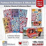 Postman Pat Stickers, 6 Sheets, Each sheet 14 x 7cm with Sticker Album