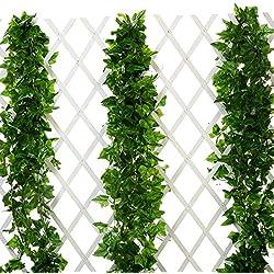 Künstliche Efeugirlanden von Justoyou, 5Stück, 230 cm, zum Aufhängen an der Wand, Zaun, Hochzeit, Zuhause, Garten, Textil, 9ft Ivy Leaves, 5