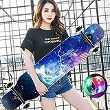 DUWEN-Skateboard à Quatre Roues Maple Longboard Skateboard Adulte Brosse Rue Dance Board Débutant Scooter Professionnel (avec Flash Wheel) (Couleur : B)
