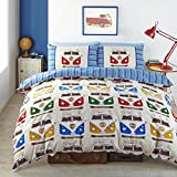 VW Splitscreen Campervans Designer Vibrant Bright Fabric Quilt Duvet Cover (Single (Includes 1 Pillowcase))