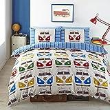 Pandoras Upholstery Juego de funda de edredón y funda de almohada, diseño de furgoneta VW, individual (Incluye 1 funda de almohada)