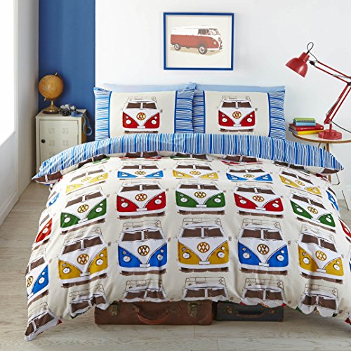VW Splitscreen Campervans Designer Vibrant Bright Fabric Quilt Duvet Cover (Double (Includes 2 Pillowcases)) by Pandoras Upholstery