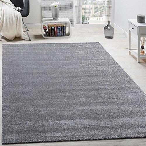 Paco Home Designer Teppich Frieze Teppiche Luxuriös Schimmer Glanzeffekt in Uni Grau, Grösse:60x110 cm (Frieze-teppich)