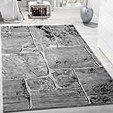 Designer Teppich Modern Trendig Meliert Steinoptik Mauer Muster Wohnzimmer Grau , Grösse:60x100 cm