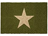 Bavaria Home Style Collection Fussmatte - Fußmatte - Türfußmatte - Fußabstreifer - Fußabtreter - Türmatte - Motivfußmatte - Fußmatte - Kokos - Kokosfussmatte - Stern - Stars - grün