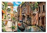 Berger Designs Wandbild auf Leinwand als Kunstdruck in Verschiedenen Größen. Romantische Straße in Venedig. Beste Qualität aus Deutschland (80 x 60 cm BxH)
