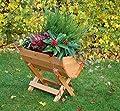 dobar 29096e Massives Blumenfass in Colorierung Honig imprägniert aus Kiefernholz inklusive Ständer, 50 x 26 x 35 cm von dobar bei Du und dein Garten