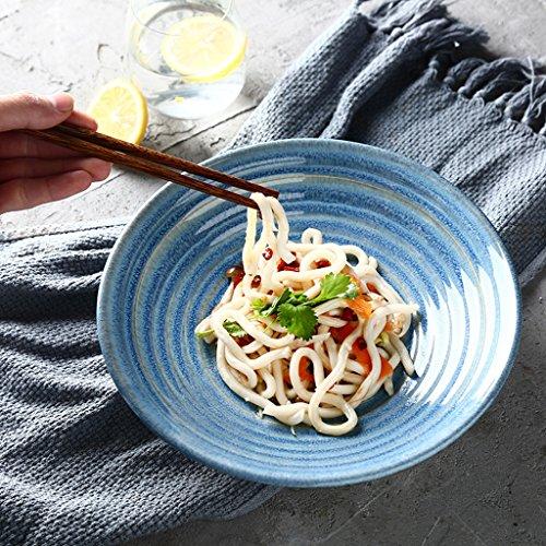 CJH Creative Vaisselle Céramique Bol Ménage Grand Salade Bol Fruits Plaque Simple Western Spaghetti Bol Bleu
