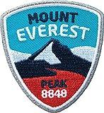 2 x Mount Everest Abzeichen gestickt 55 x 60 mm / Himalaya Nepal Bergtour Bergsteigen Bergwandern Klettern / Aufnäher Aufbügler Flicken Sticker Patch / Kleidung Rucksack Wanderkarte Reiseführer Karte