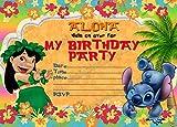 10x Lilo & Stitch Kids Birthday Party Einladungen mit 10Umschlägen, 10