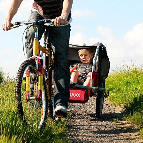 DURAMAXX • Trailer Swift • Fahrradanhänger • Kinderfahradanhänger • Kinderwagen • Babytrailer 2-Sitzer • 5-Punkt Sicherheitsgurten • Umwandlung in Joggermodell • Fliegengitter und Regenschutzverdeck • 37,5 Liter Gepäckfach • zusammenklappbar • rot - 4