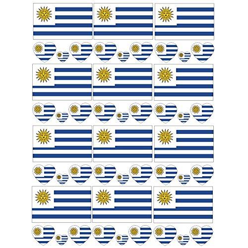 SpringPear 12x Temporär Tattoo von Flagge Uruguays für Internationale Wettbewerbe Olympischen Spiele Weltmeisterschaft Wasserfeste Fahnen Tätowierung Flaggenaufkleber WM Fan Set (12 Pcs) - Uruguay Wm