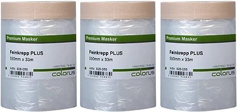 3 x Colorus Masker Tape PLUS Feinkrepp 55 cm x 33 m   Maler Abdeckfolie mit Malerkrepp Folienklebeband   Für glatte und leicht raue Untergründe   Klebeband mit Folie   Abdeckfolie mit Krepp