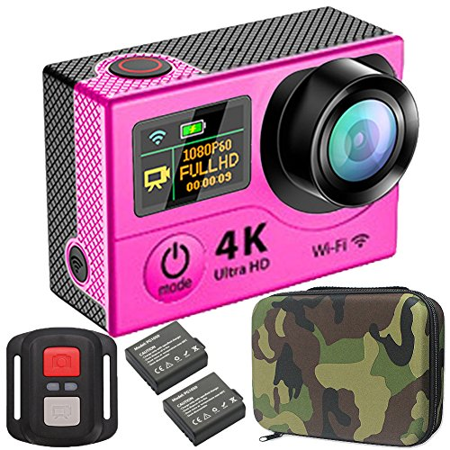 GreatCool Waterproof Action Camera 4K 25fps Hd Dual-screen 2.0 Inch LCD 2.4GHz Wireless Remote Controller with 2 Batteries ...