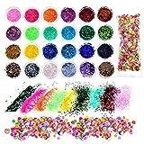 Bememo 24 Farben Glitzer Pulver Pailletten mit 1000 Stück Frucht