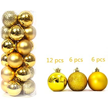 4CM 24Pcs Yellow Christmas Baubles Christmas Xmas Tree Decorations ...