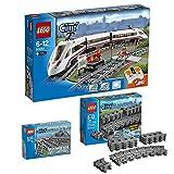 Lego City 3er Set 60051 7499 7895 Hochgeschwindigkeitszug + Flexible Schienen + Weichen